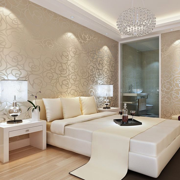 Model de tapet elegant auriu pentru dormitor