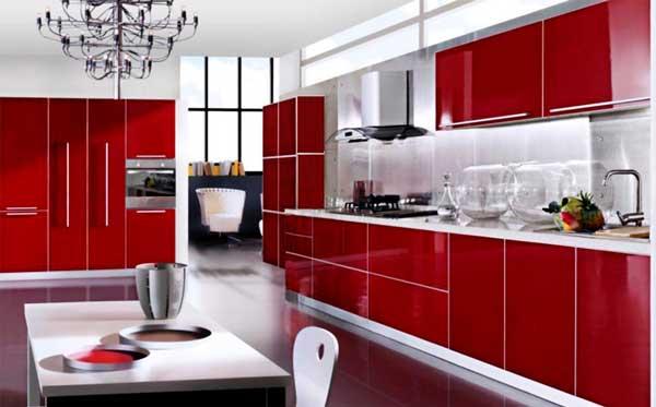 Bucatarii moderne de culoare rosu aprins material lucios