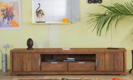 Comoda TV din lemn de palisandru 205 x 45 cm tratat cu ceara solida