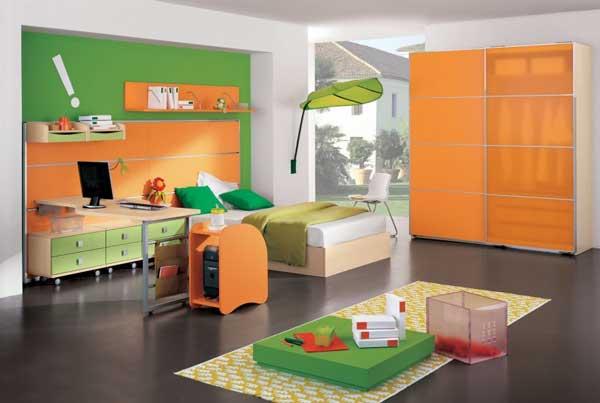 Idei decorare si mobilier pentru camera copilului portocaliu cu verde