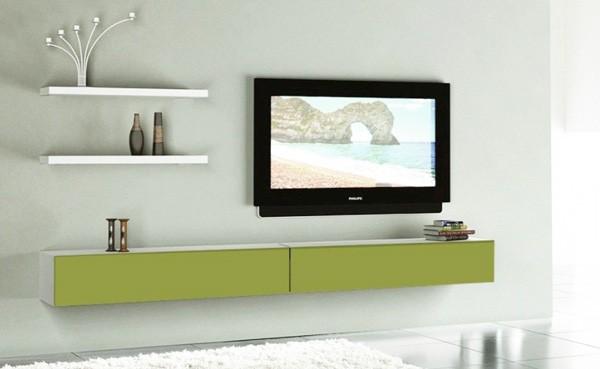 Living modular Emma Alb Verde Olive cu fixare in perete